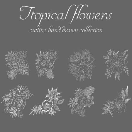 Tropical flowers. Outline hand drawn bundle. Outline vector collection for decorative design. Doodle line graphic design. Hand drawn vector set. Exotic flowers. Freehand illustration set.