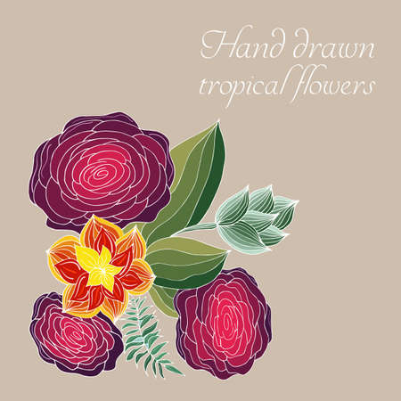 Vector composition of hand drawn tropical flowers, palm leaves, jungle plants, paradise bouquet. Floral illustration in sketch style. Summer background with tropical flowers for travel. Isolated.