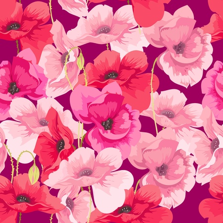 stamens: flowers poppies Illustration