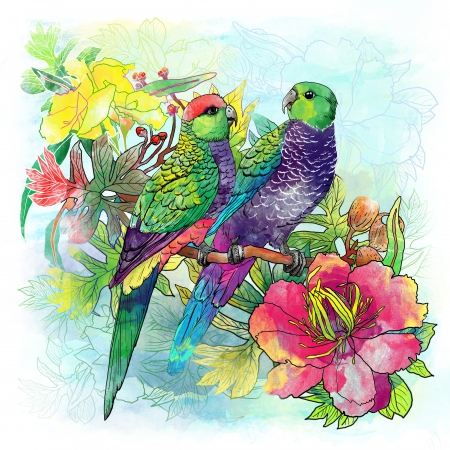 flying birds: parrots and flowers Stock Photo