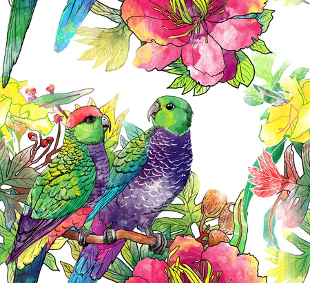 watercolor flower: seamless pattern with parrots and flowers