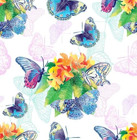 schmetterlinge blau wasserfarbe: Nahtlose Muster von Schmetterlingen und Frühlingsblumen aus