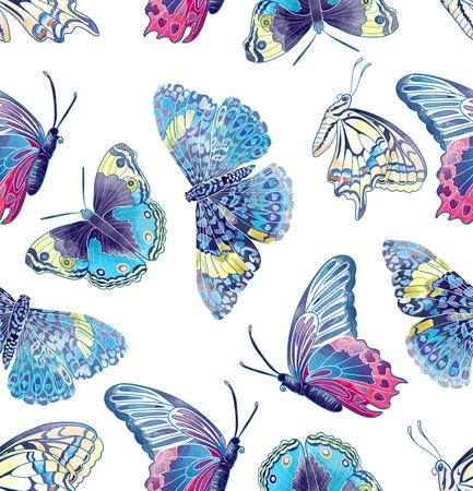 Nahtlose Muster von Schmetterlingen zusammen