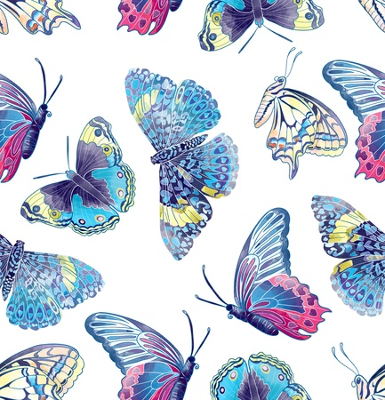 Seamless pattern composed of butterflies Imagens