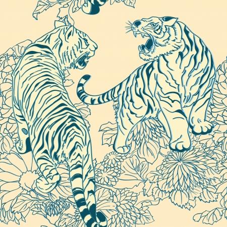 nahtlose Muster im Stil der japanischen Holzschnitte