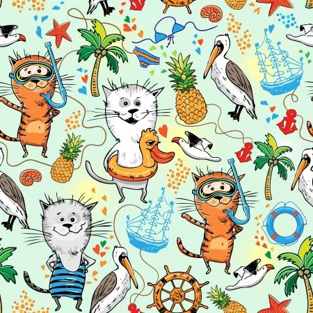 고양이와 펠리칸 여름 바다 패턴