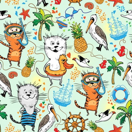 summer sea pattern with cats and pelican Çizim