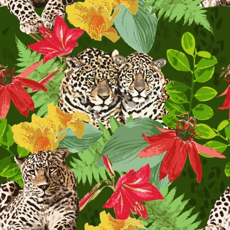 leopard and flowers Vector