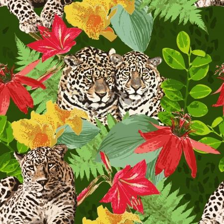 Leoparden und Blumen Illustration