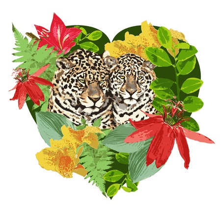 heart leopard and exotic flowers Vector