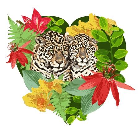 Herz Leoparden und exotischen Blumen Illustration
