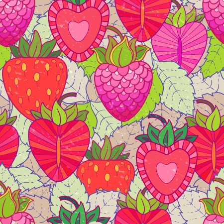 raspberries and strawberries Vector