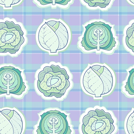 leaf lettuce: seamless pattern of cabbage Illustration
