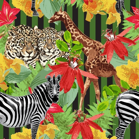 표범, 얼룩말, 기린, 꽃 일러스트