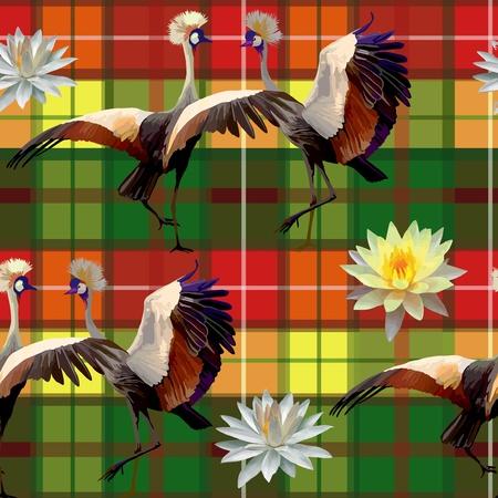 nahtlose Muster von Vögeln und Lotusblumen Illustration