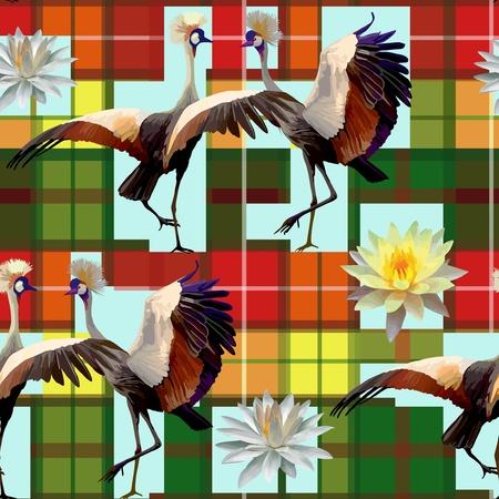 새와 연꽃의 원활한 패턴