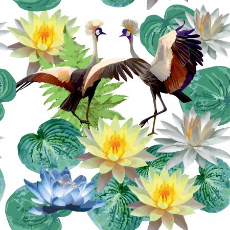 nahtlose Muster von Vögeln und Lotusblüten
