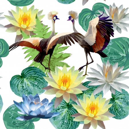 seamless pattern of birds and lotuses Vector