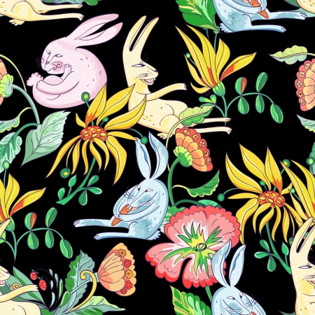 토끼와 꽃 패턴 일러스트
