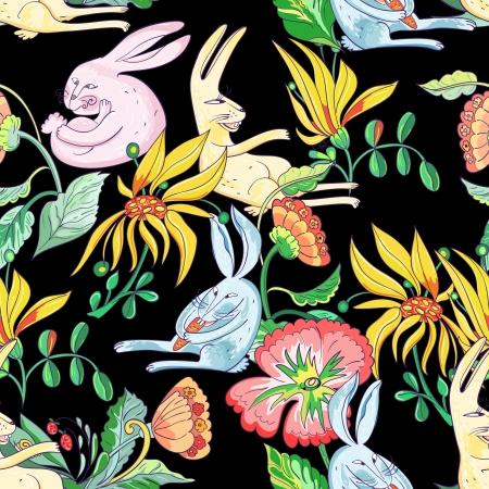 Hase und Blumen-Muster