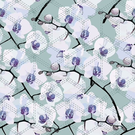 seamless pattern of romantic flower orchids on a blue background Vector