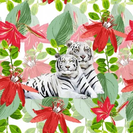 흰색 호랑이와 꽃의 로맨틱 한 쌍