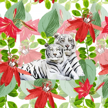 romantic pair of white tigers and flowers