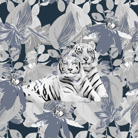 romantic pair of white tigers and flowers Vector