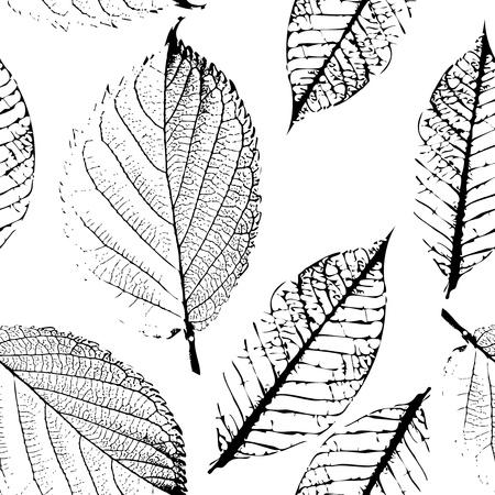 autumn leaf: seamless pattern of autumn black graphic  leaves Illustration