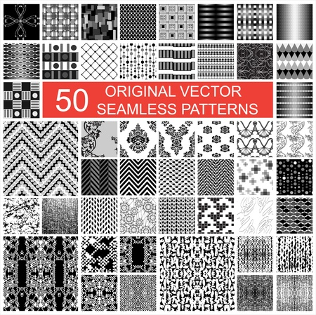 fifty original vector seamless pattern texture backgrounds Stock Vector - 21847438