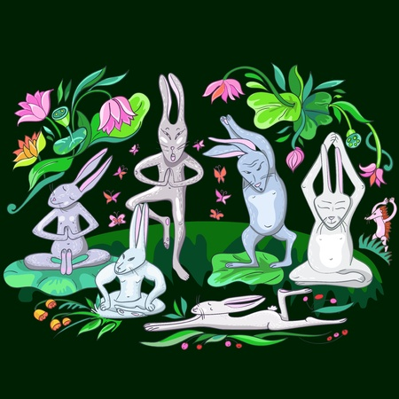 illustration many hares are doing yoga exercises Vector