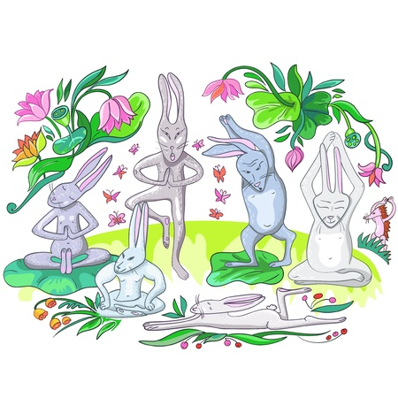 cartoon yoga: illustration many hares are doing yoga exercises Illustration