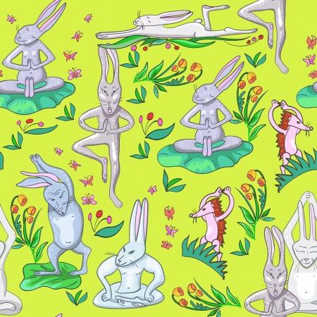 Abbildung viele Hasen macht Yoga-Übungen Illustration