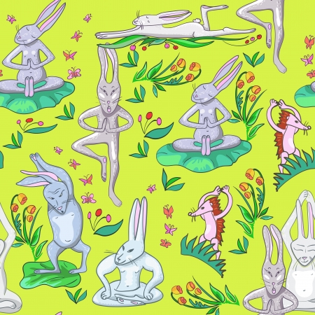 illustration many hares are doing yoga exercises Иллюстрация