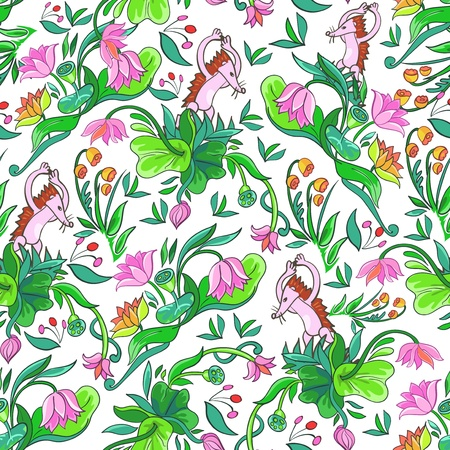 seamless pattern with stylized flowers and hedgehog Vector