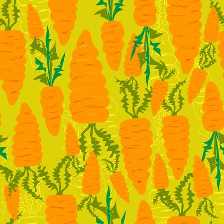 autumn vector seamless pattern of carrots harvest Vector