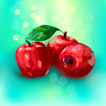 illustration of apples simulates an oil painting