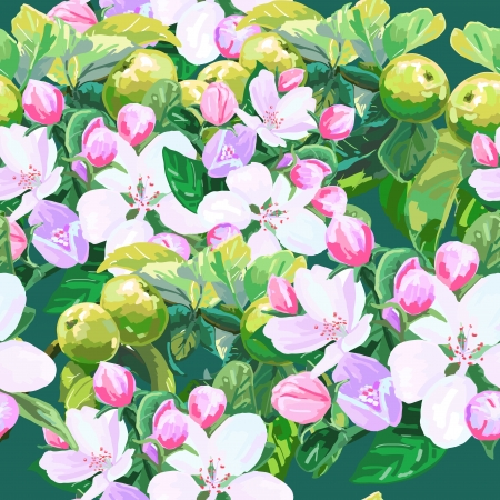 vector drawing seamless pattern of apple blossoms