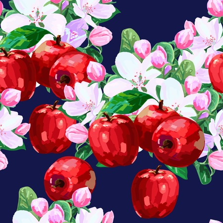 drawing seamless pattern of apple blossoms