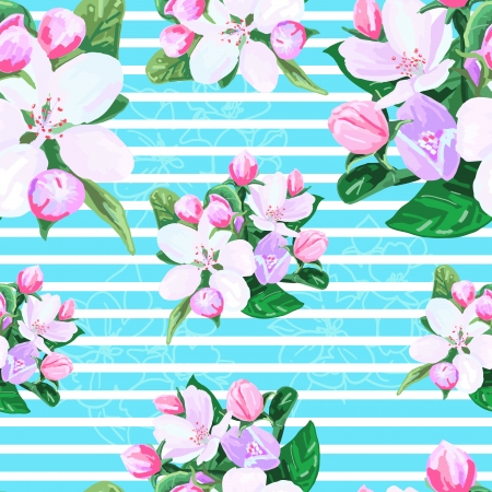 apple blossom: drawing seamless pattern of apple blossoms