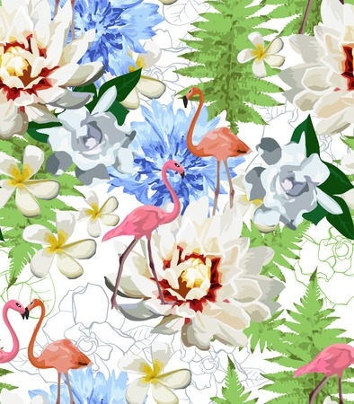 pattern consisted of flamingos and exotic flowes Vector