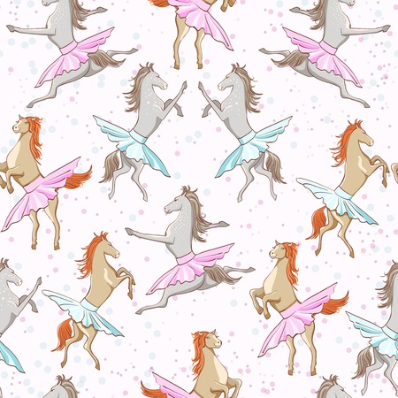 seamless pattern of dancing horses on white background