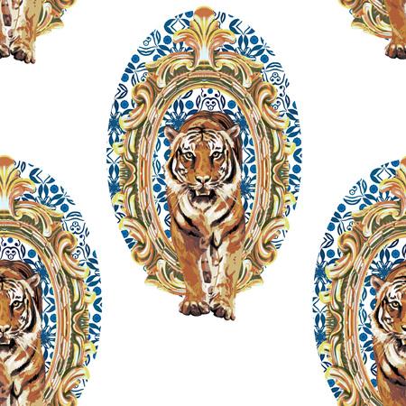 seamless pattern of wild tiger in vintage frame