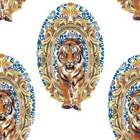 seamless pattern of wild tiger in vintage frame Vector
