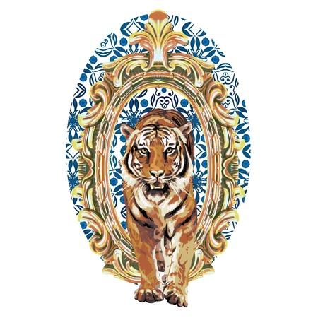 white tiger: pattern of wild tiger in vintage frame Illustration
