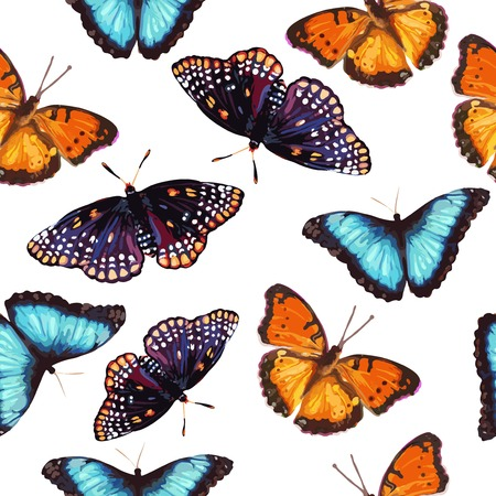 seamless pattern of nature tropical butterfly