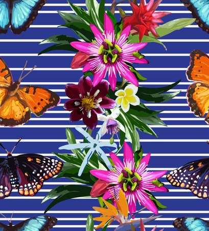 seamless pattern of butterflies and tropical flowers Vettoriali