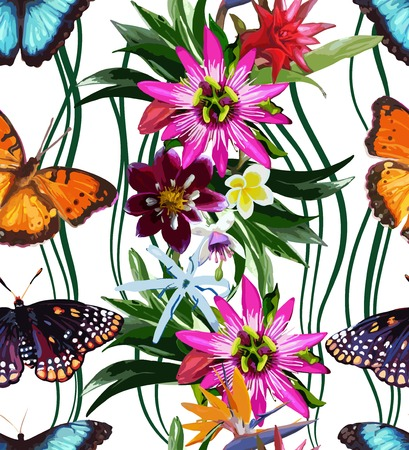 pattern of butterflies and tropical flowers Vector