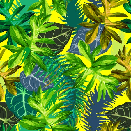 seamless pattern of exotic tropical leaves Vector