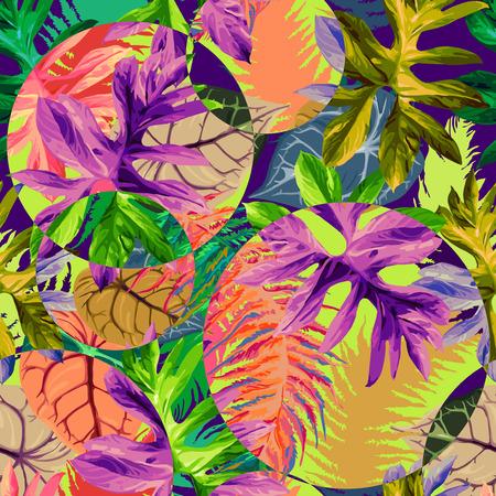 이국적인 열대 잎의 원활한 패턴